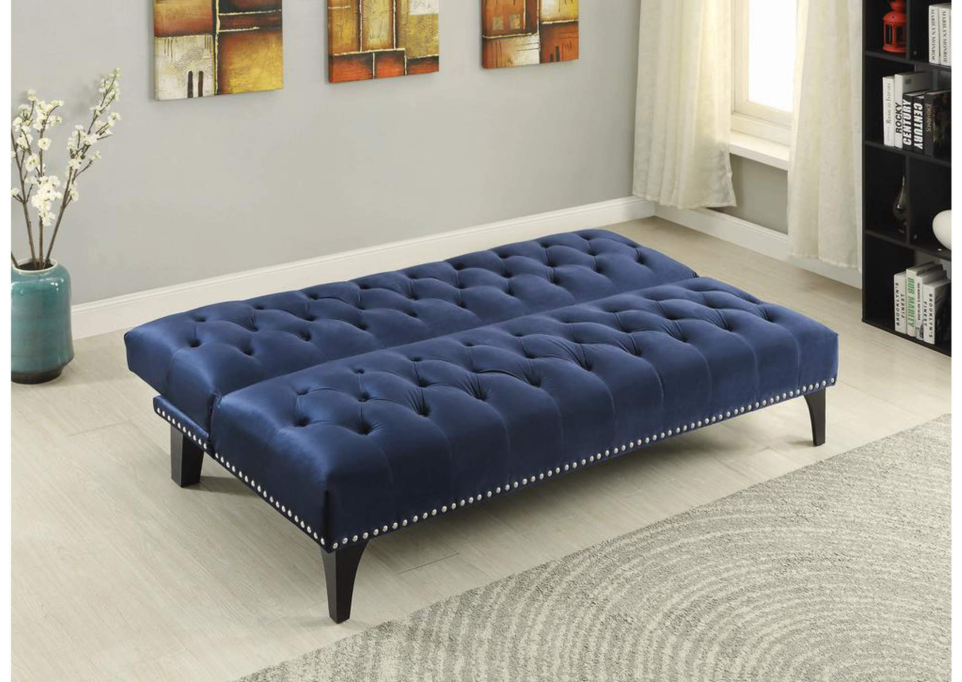 Blue Blue Velvet Sofa Bed,Coaster Furniture
