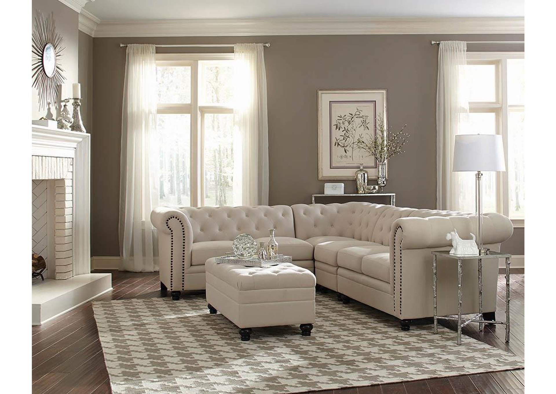Roy Oatmeal Sectional,Coaster Furniture