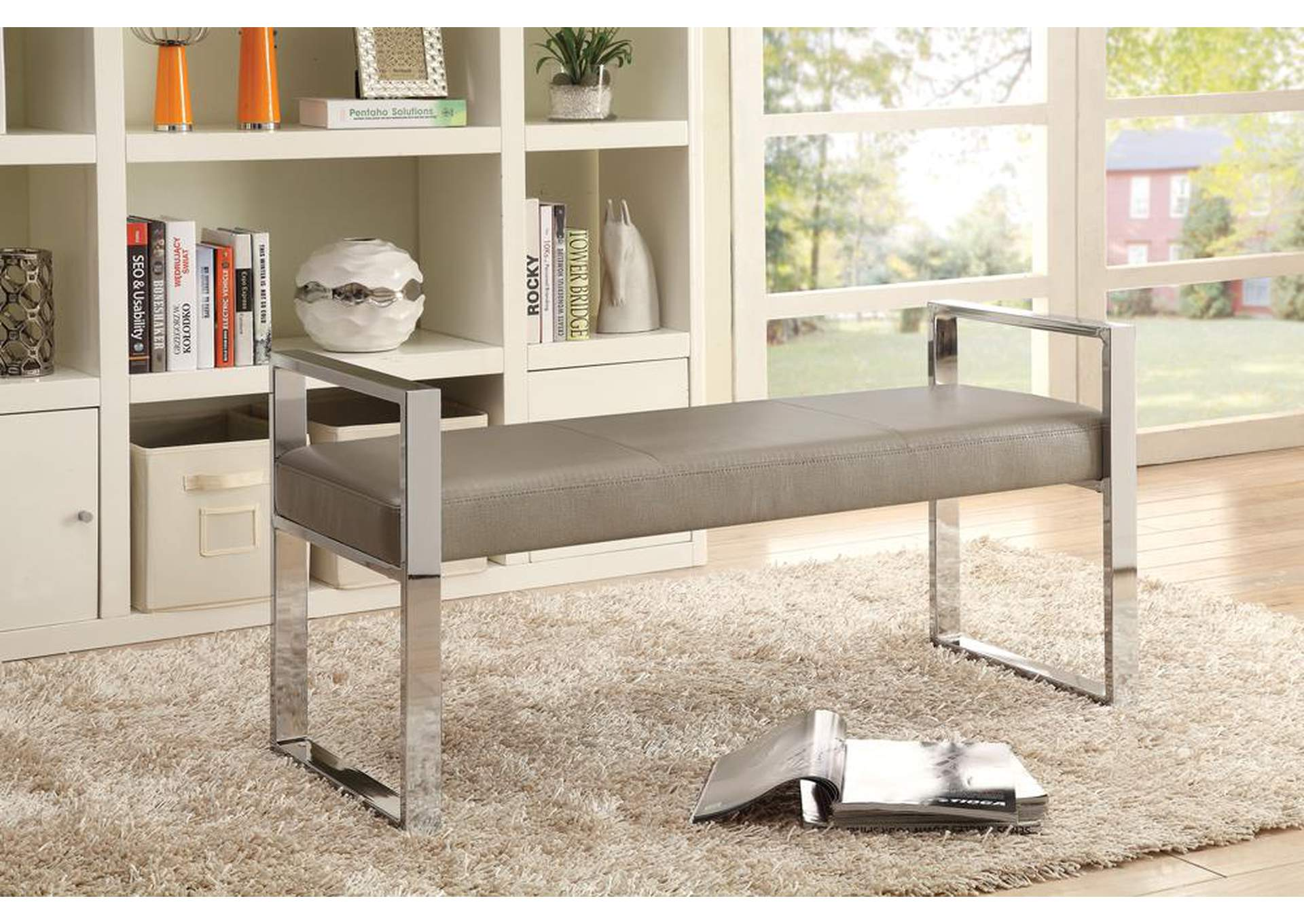 Champagne & Chrome Bench,Coaster Furniture