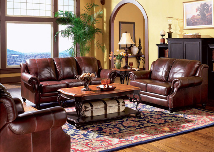 Princeton Dark Brown Tri-Tone Leather Sofa & Love Seat,Coaster Furniture