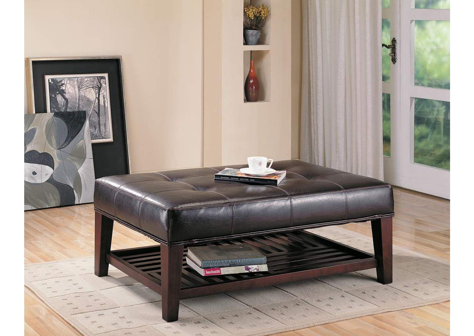 Brown & Cappuccino Ottoman,Coaster Furniture