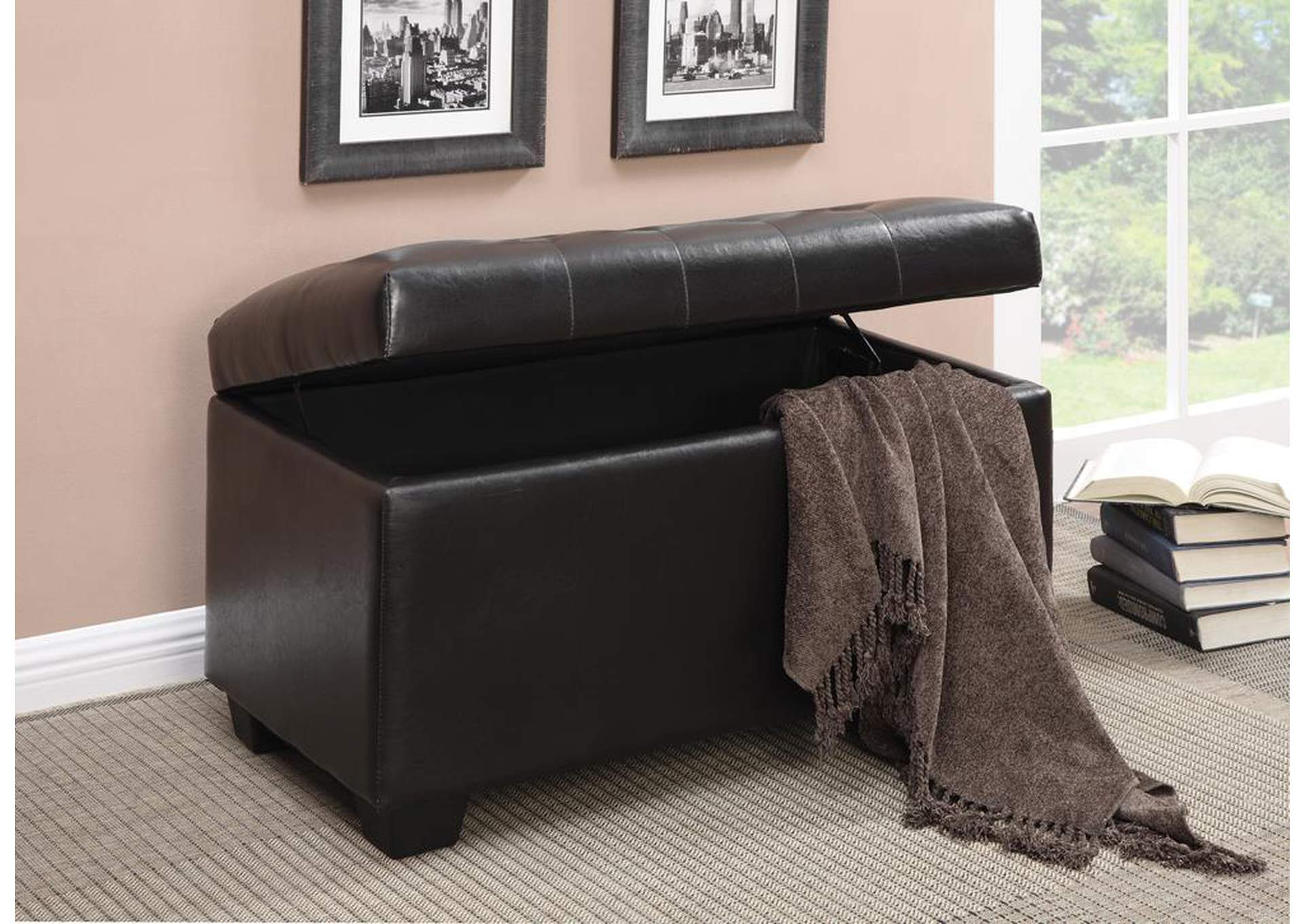 Dark Brown Storage Ottoman,Coaster Furniture
