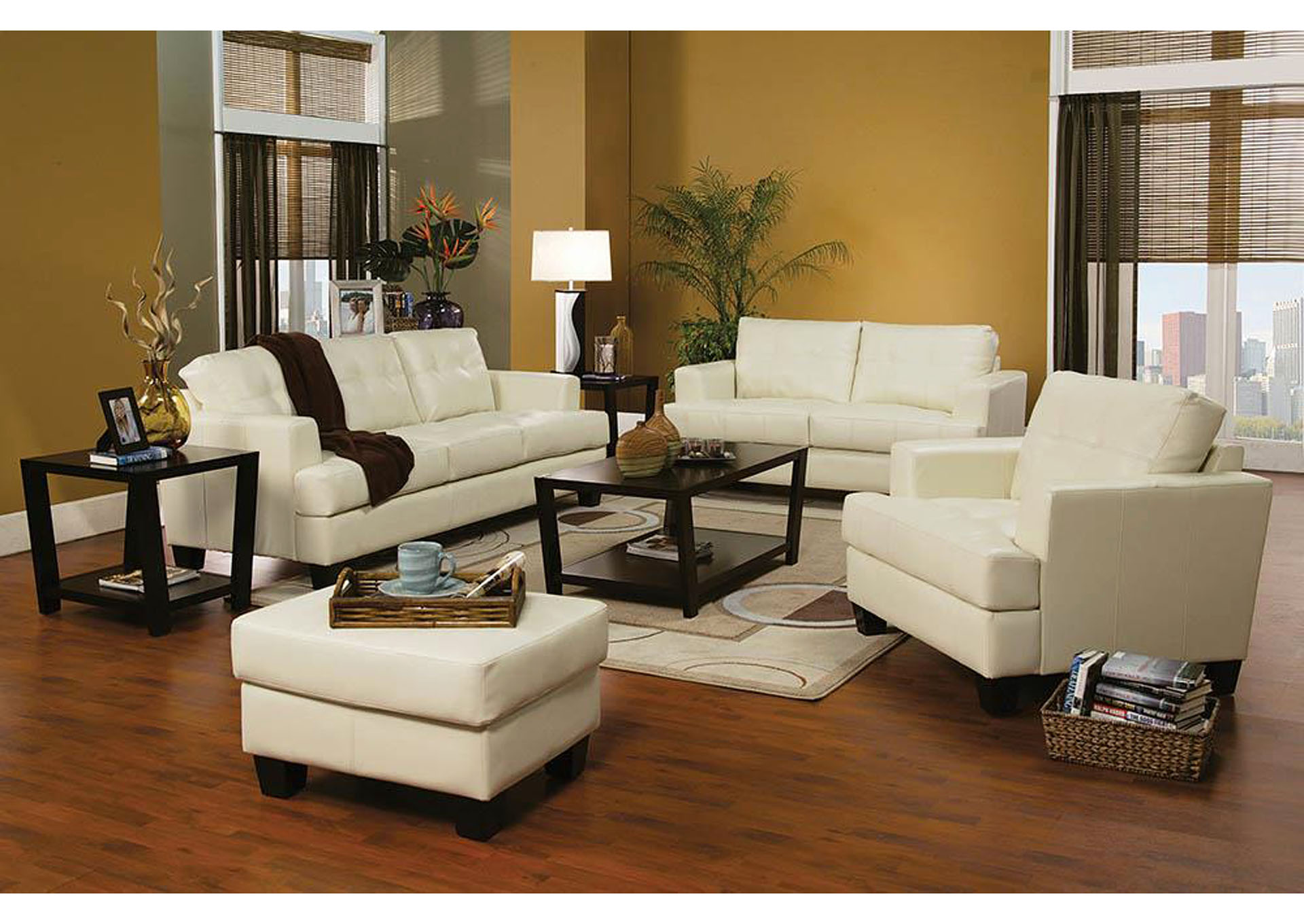 Samuel Cream Bonded Leather Love Seat,Coaster Furniture