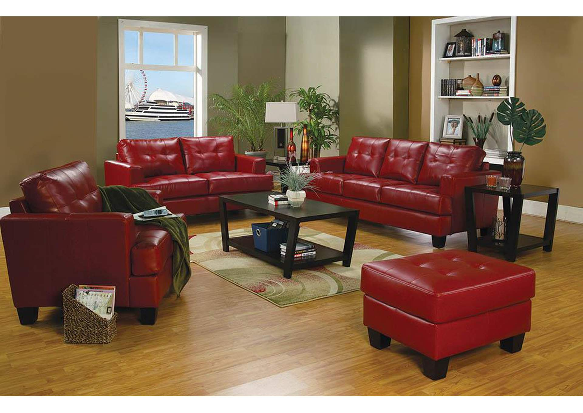 Samuel Red Bonded Leather Ottoman,Coaster Furniture