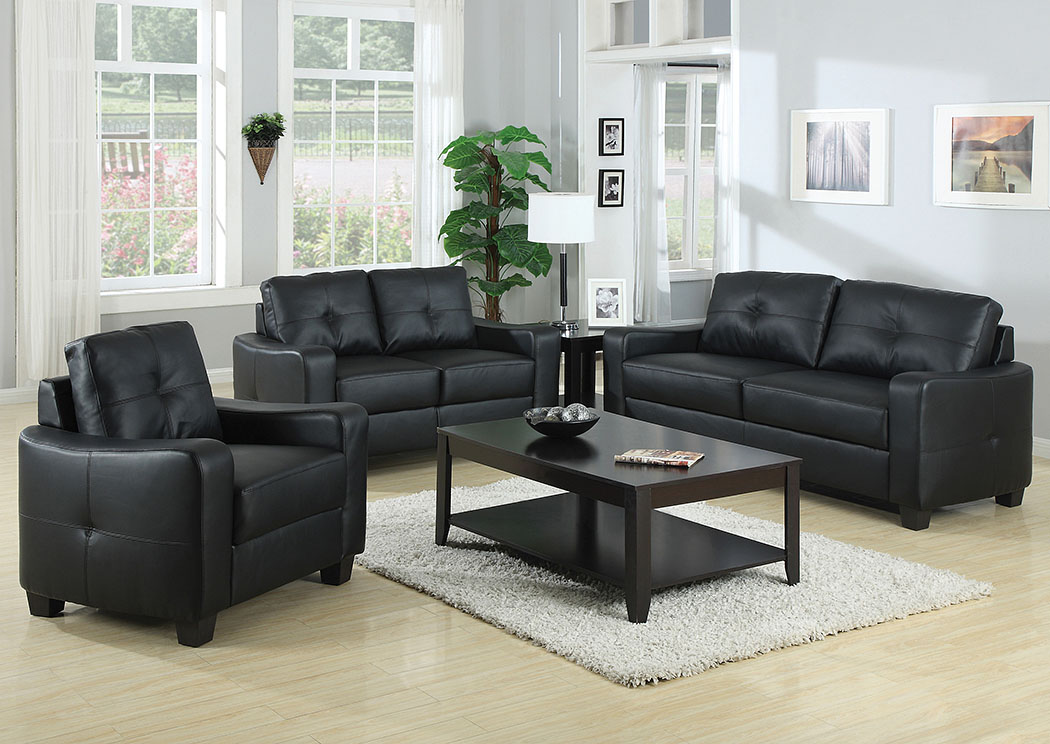 Black Sofa and Loveseat,Coaster Furniture