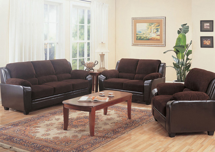 Monika Chocolate Sofa & Love Seat,Coaster Furniture