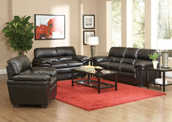 Fenmore Black Sofa & Love Seat,Coaster Furniture