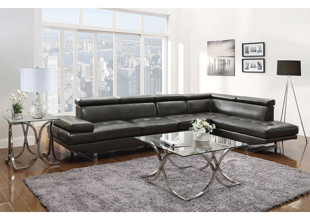 Piper Charcoal Sectional w/Armless Chair,Coaster Furniture
