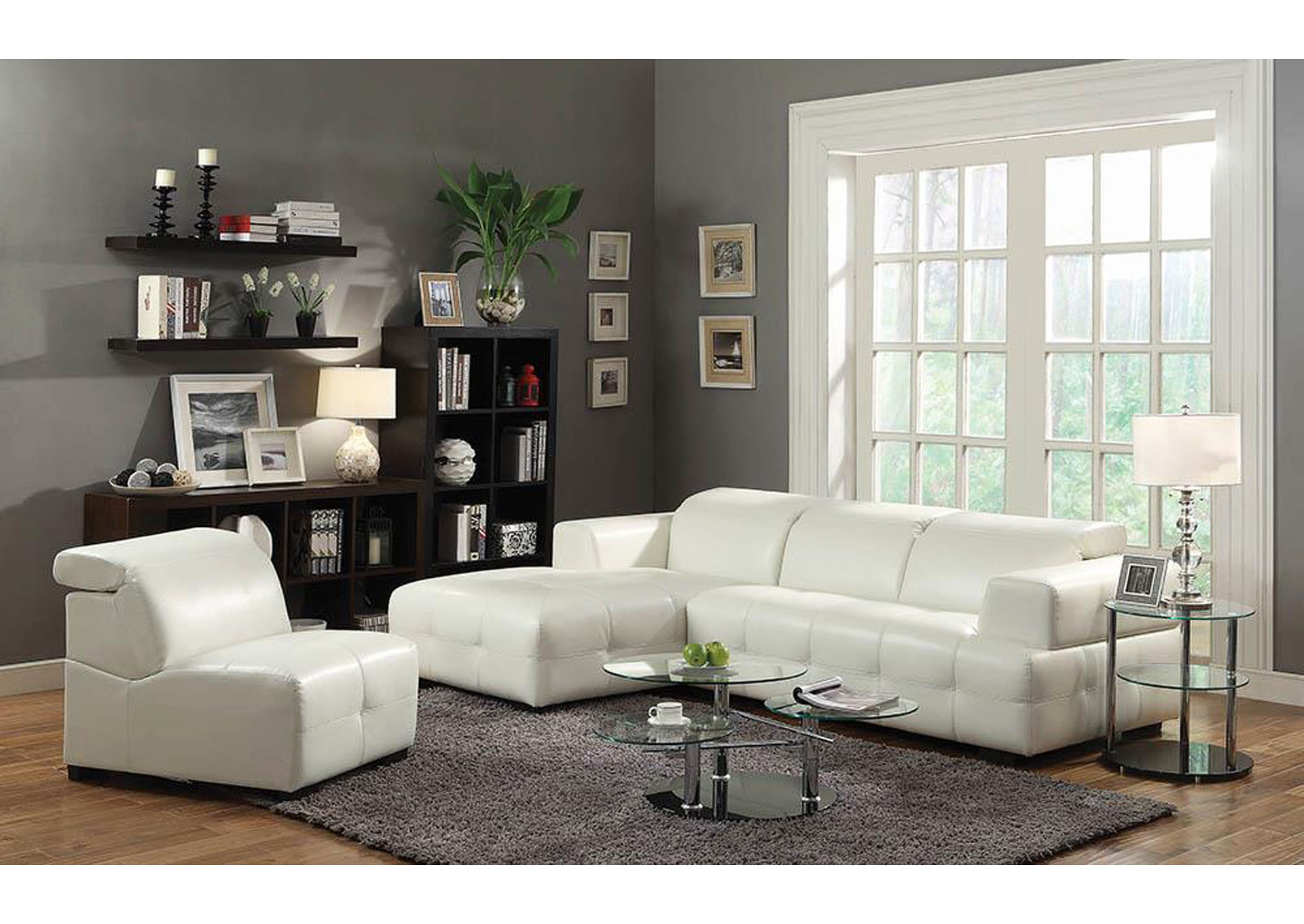 Darby White Sectional,Coaster Furniture