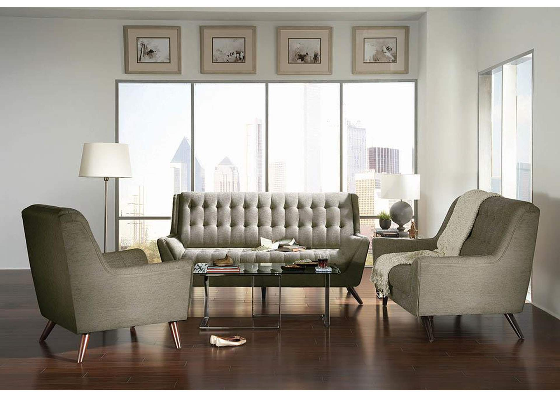 Silver Natalia Mid-Century Modern Dove Grey Sofa,Coaster Furniture