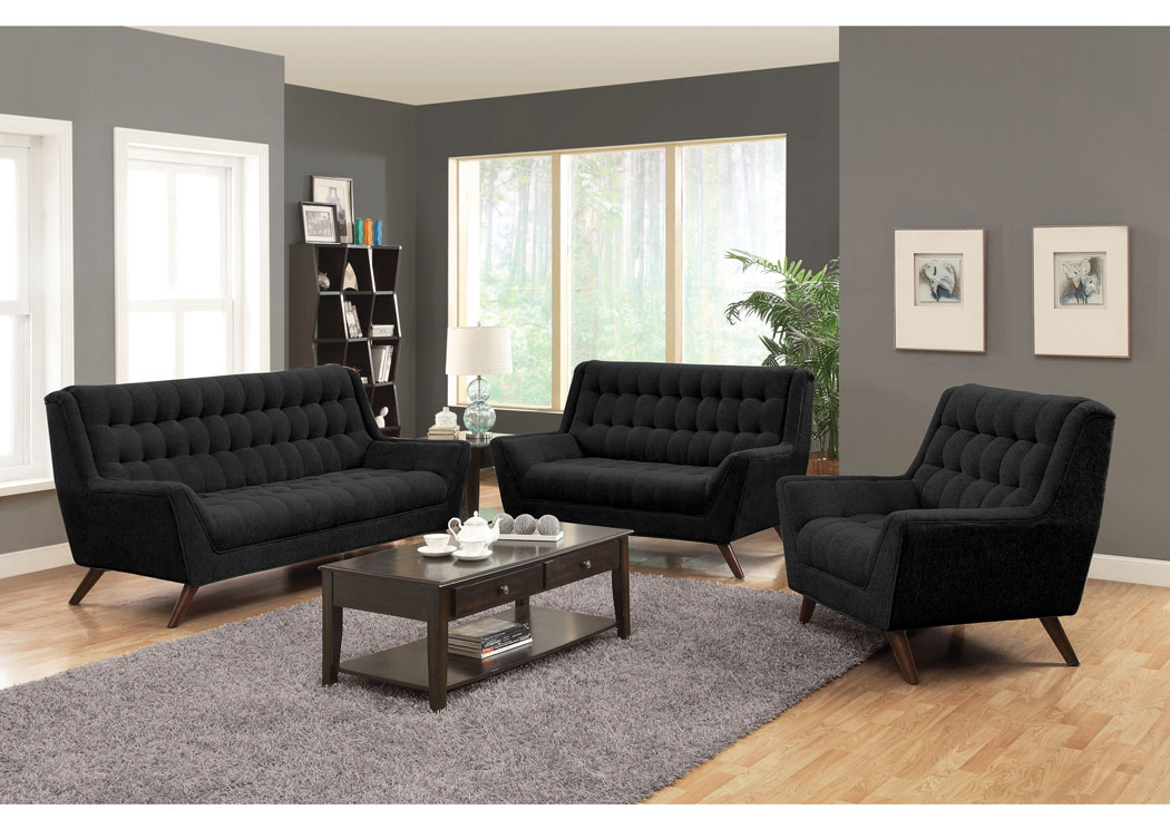 Black Sofa, Loveseat & Chair,Coaster Furniture