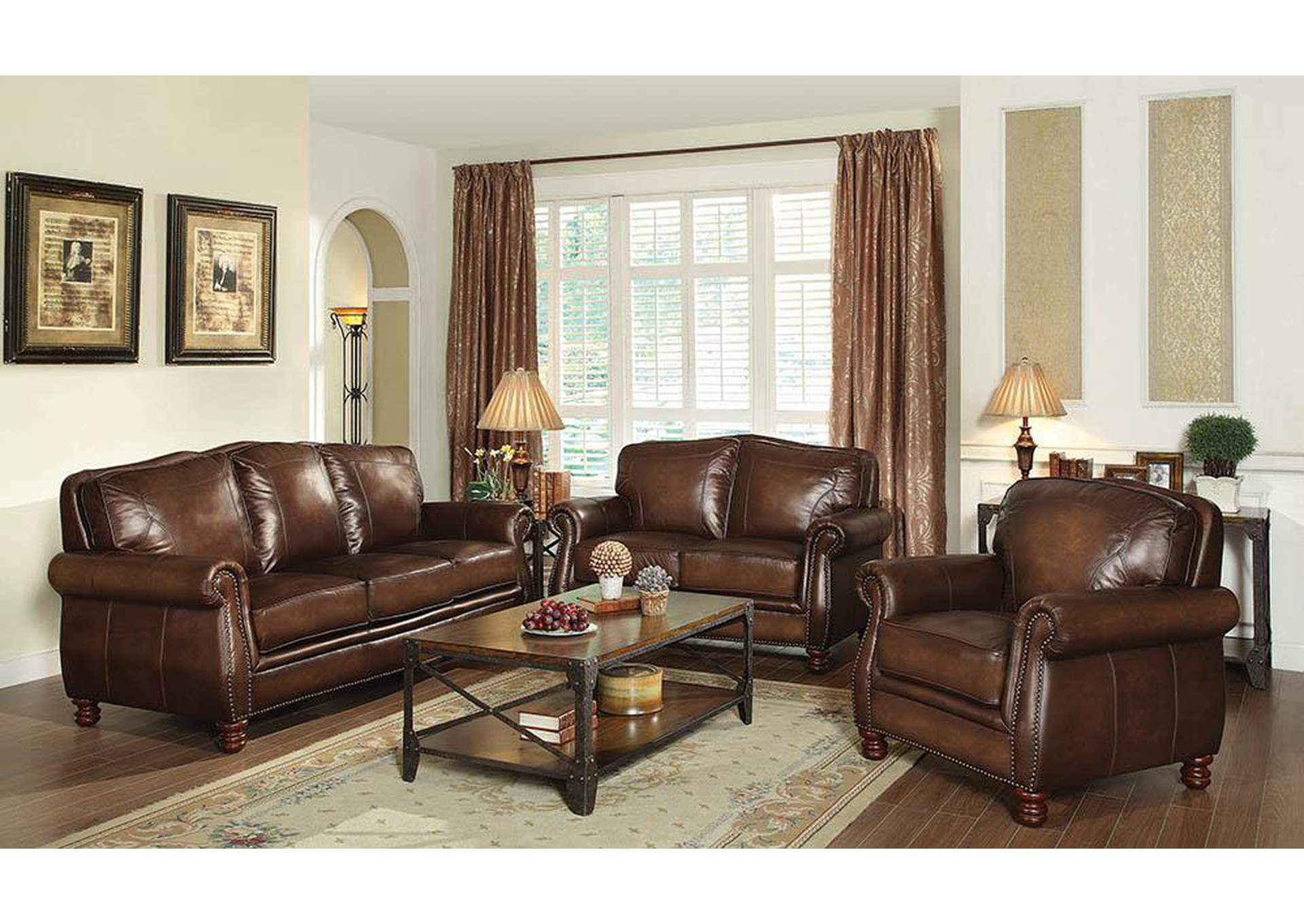 Montbrook Hand Rubbed Brown Sofa,Coaster Furniture