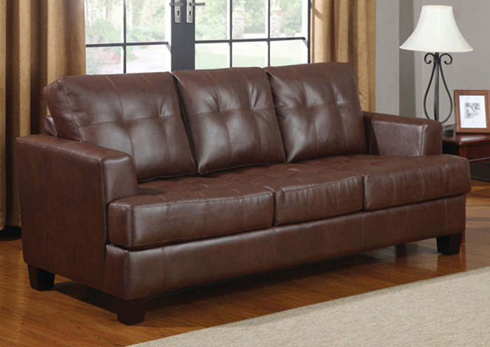 Samuel Dark Brown Bonded Leather Sleeper,Coaster Furniture