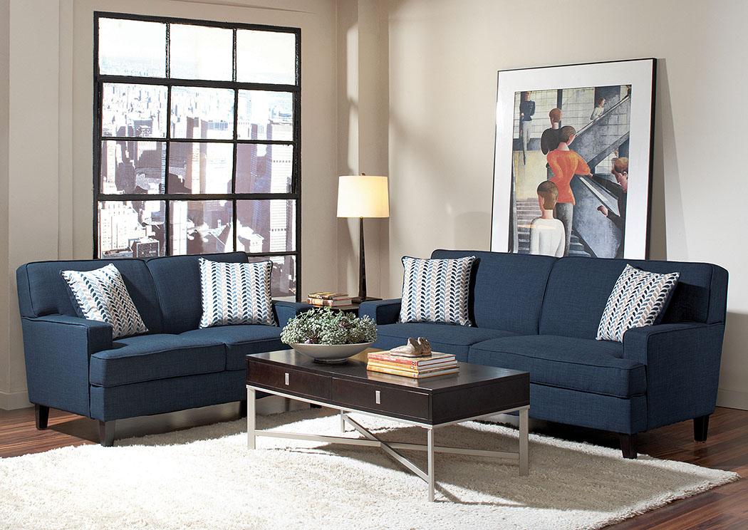 Exceptionnel Finley Blue Sofa U0026 Loveseat,Coaster Furniture