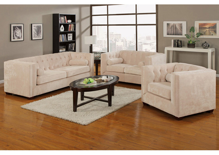 Alexis Almond Sofa & Love Seat,Coaster Furniture