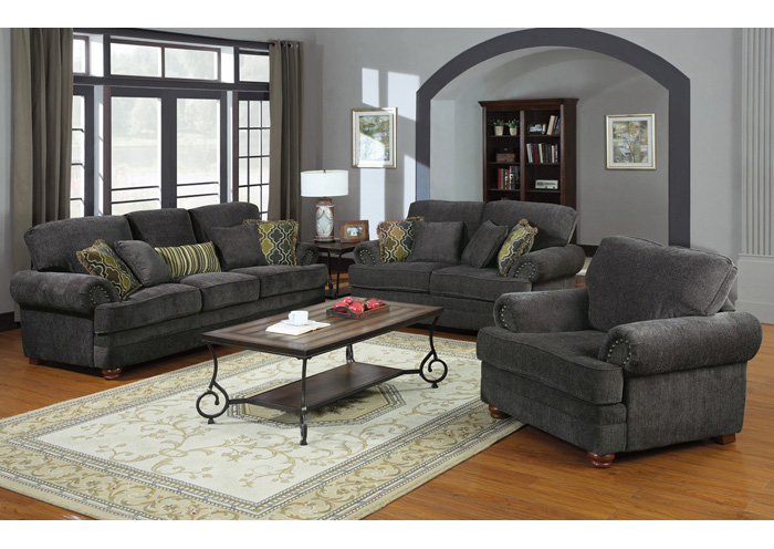 Colton Grey Sofa & Love Seat,Coaster Furniture