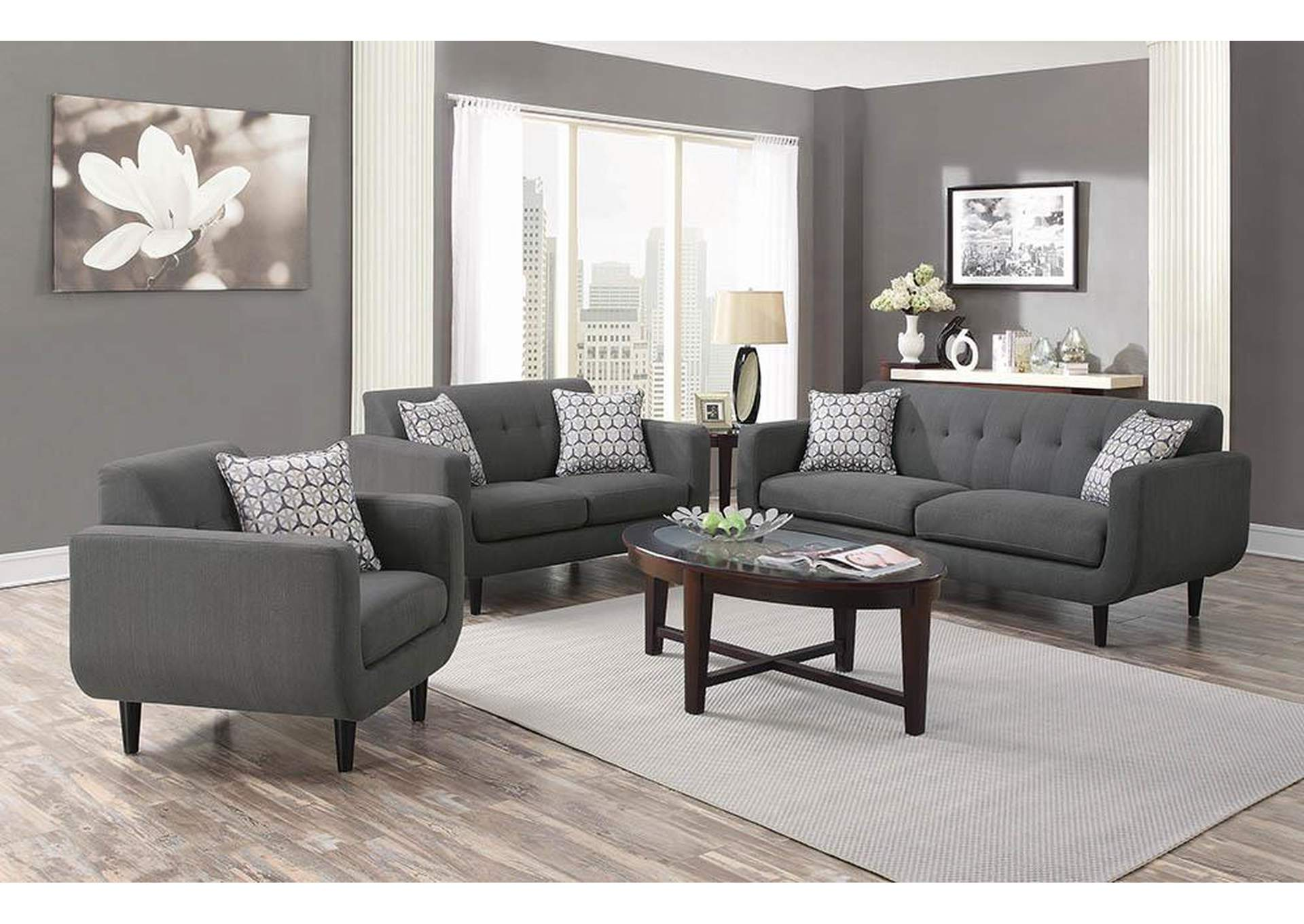 Stansall Chocolate Grey Sofa,Coaster Furniture