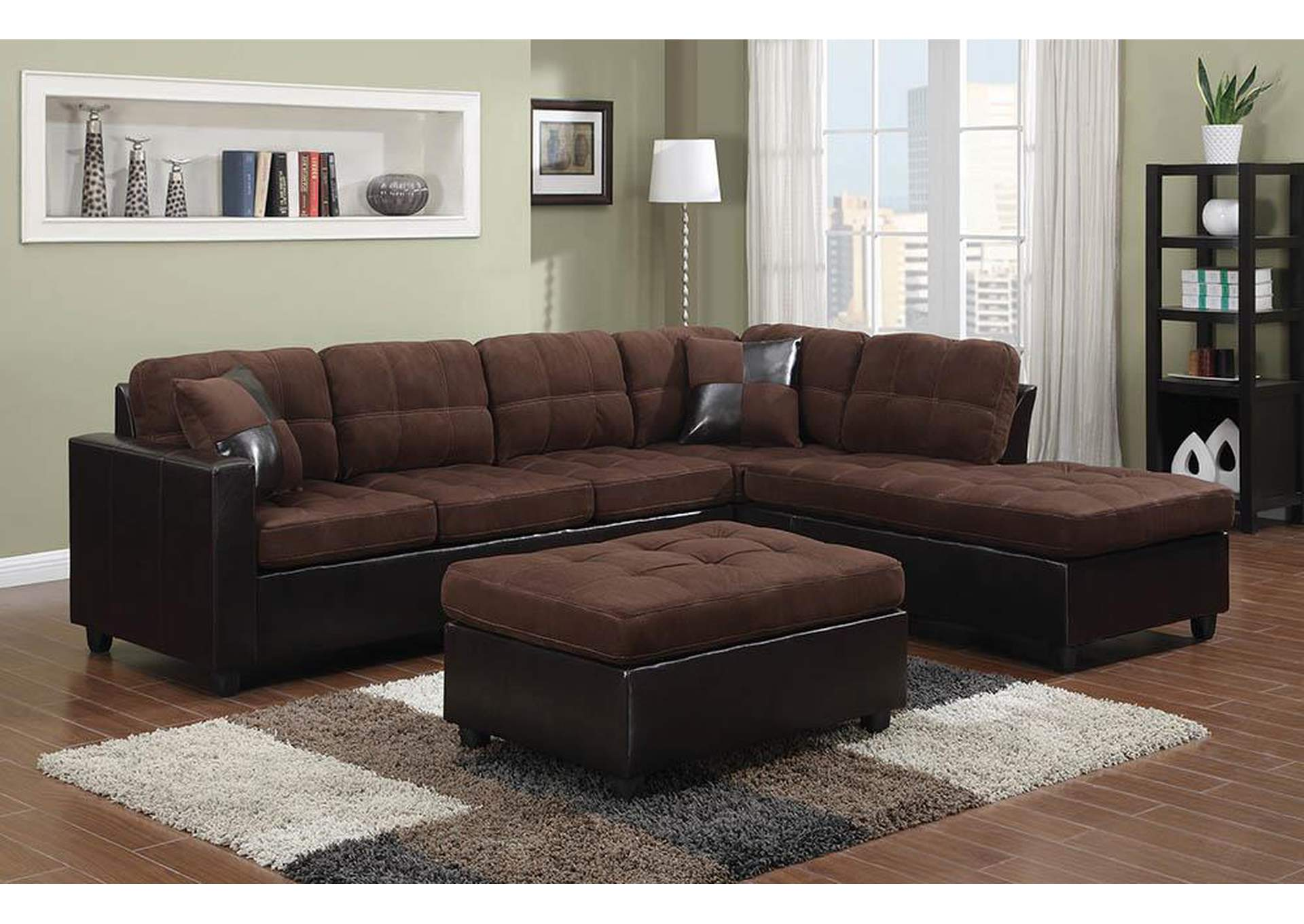 Mallory Chocolate Sectional,Coaster Furniture