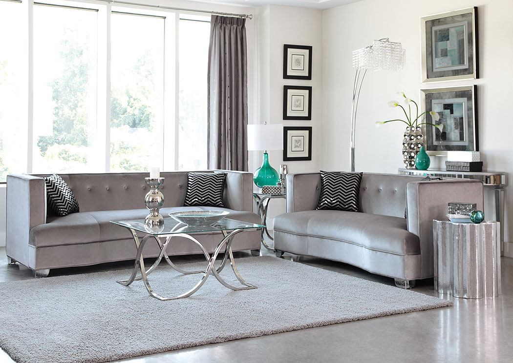 Chrome Sofa & Loveseat,Coaster Furniture