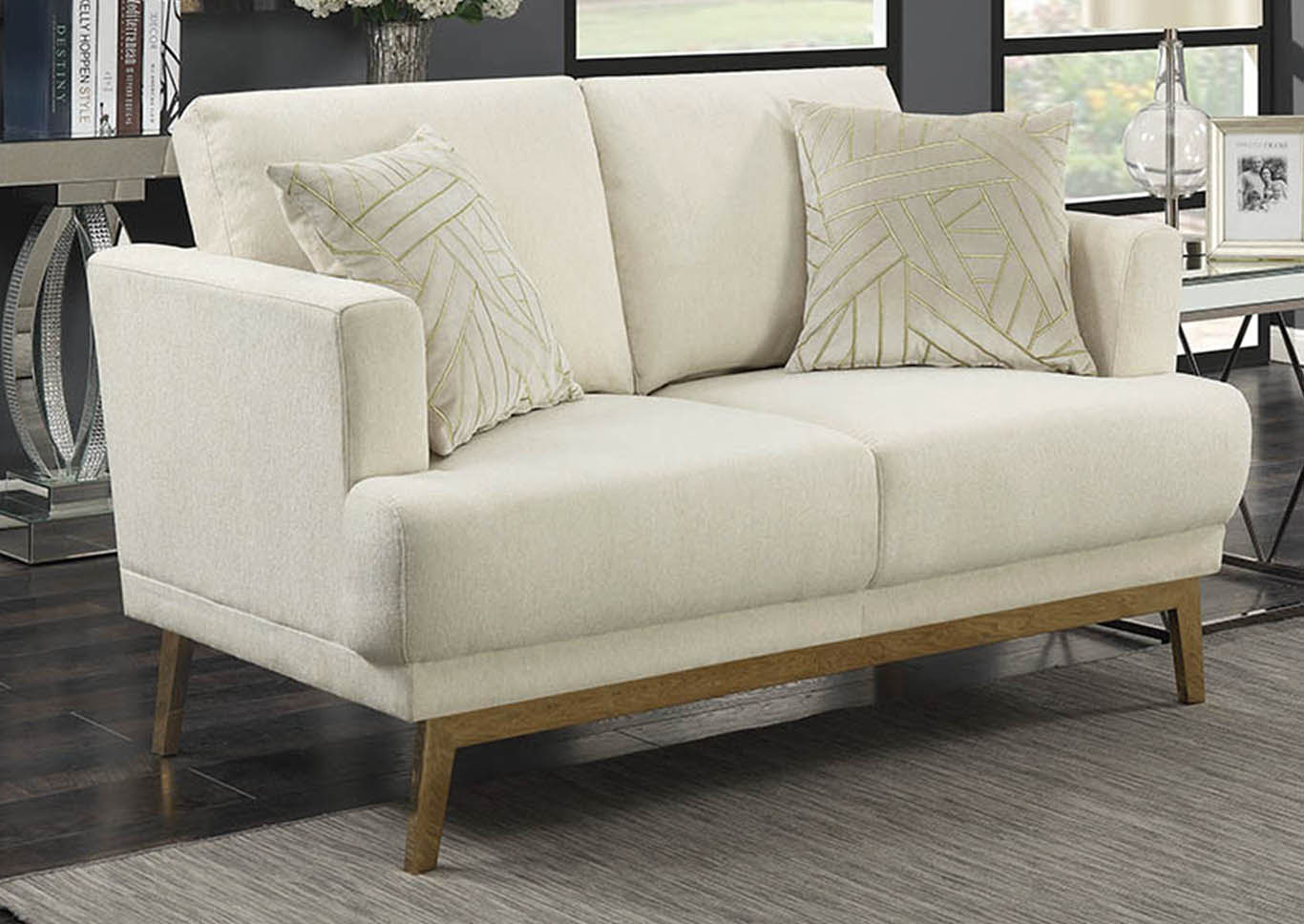 Beige Upholstered Loveseat,Coaster Furniture