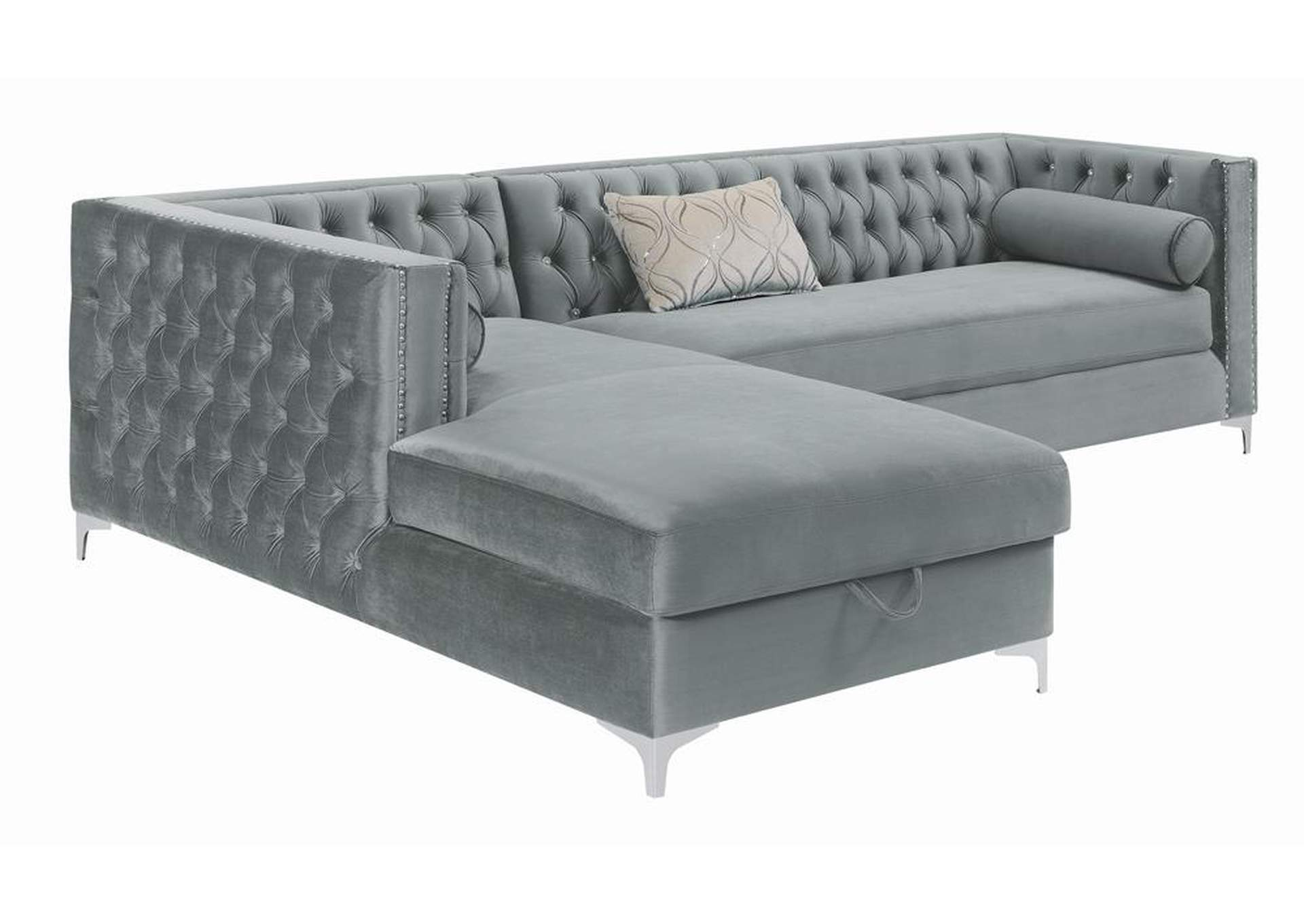 Bellaire Silver/Chrome Sectional,Coaster Furniture