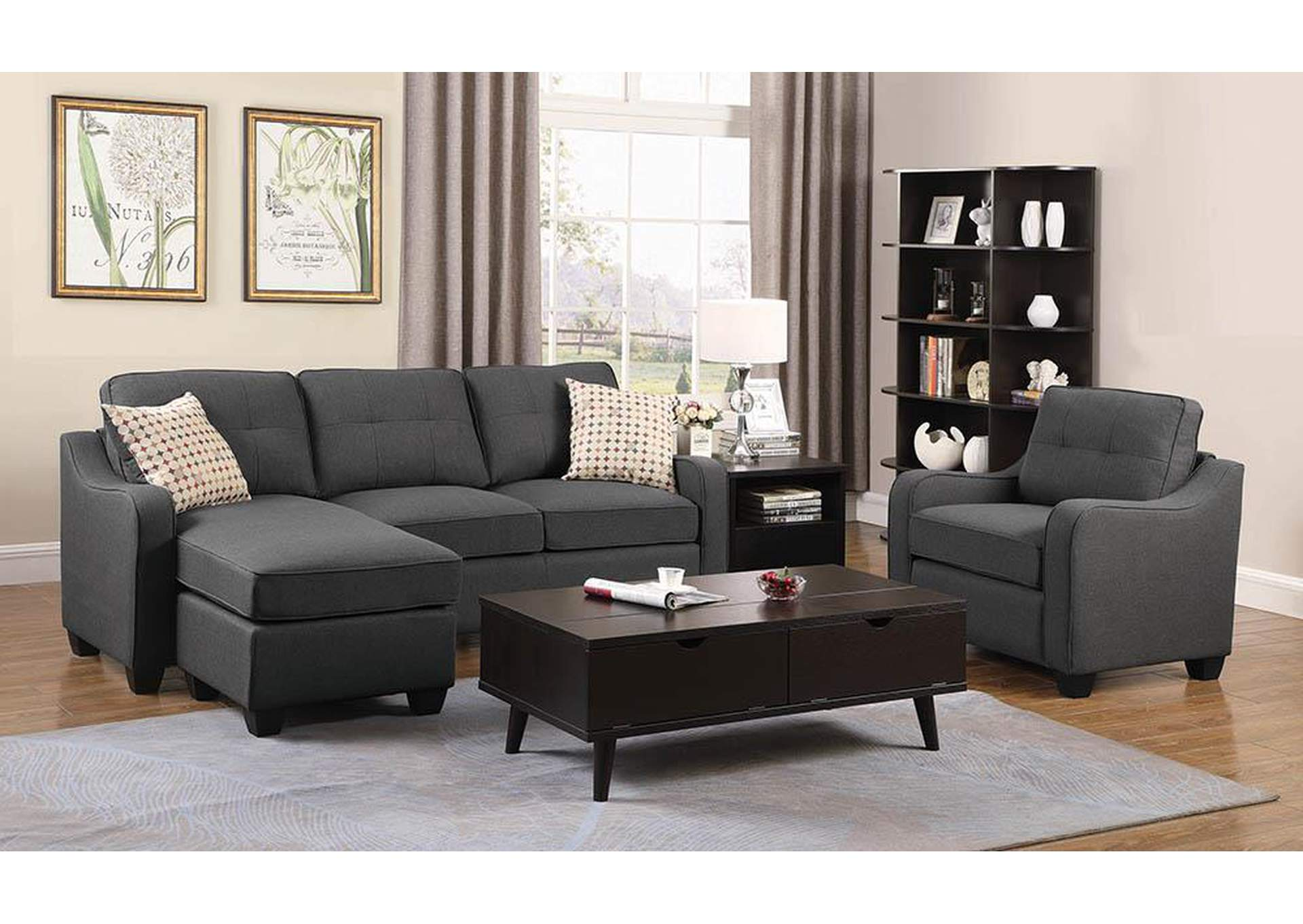 Black Reversible Sectional,Coaster Furniture