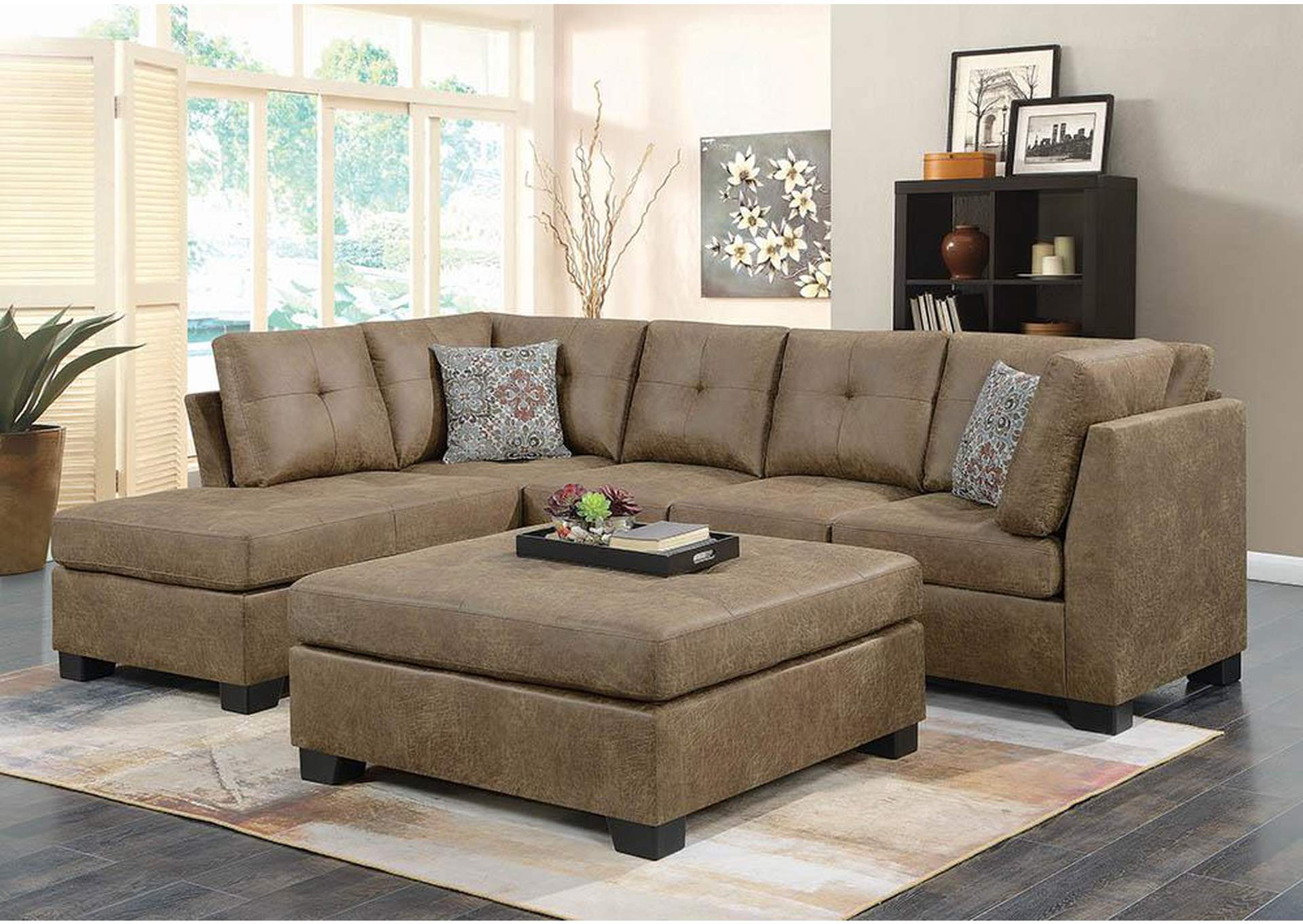 Golden Brown Sectional,Coaster Furniture
