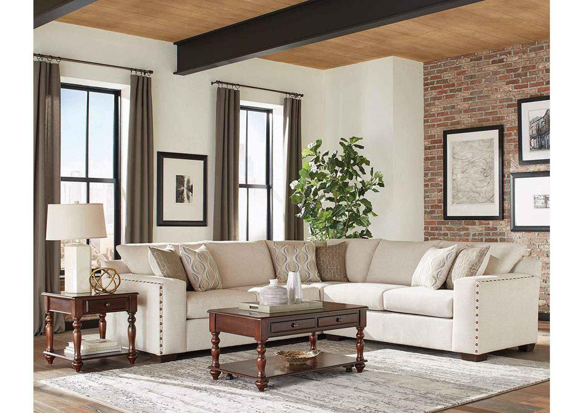 White Stationary Sectional,Coaster Furniture