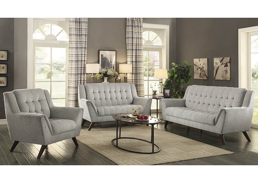 Baby Natalia Dove Grey Sofa and Loveseat,Coaster Furniture