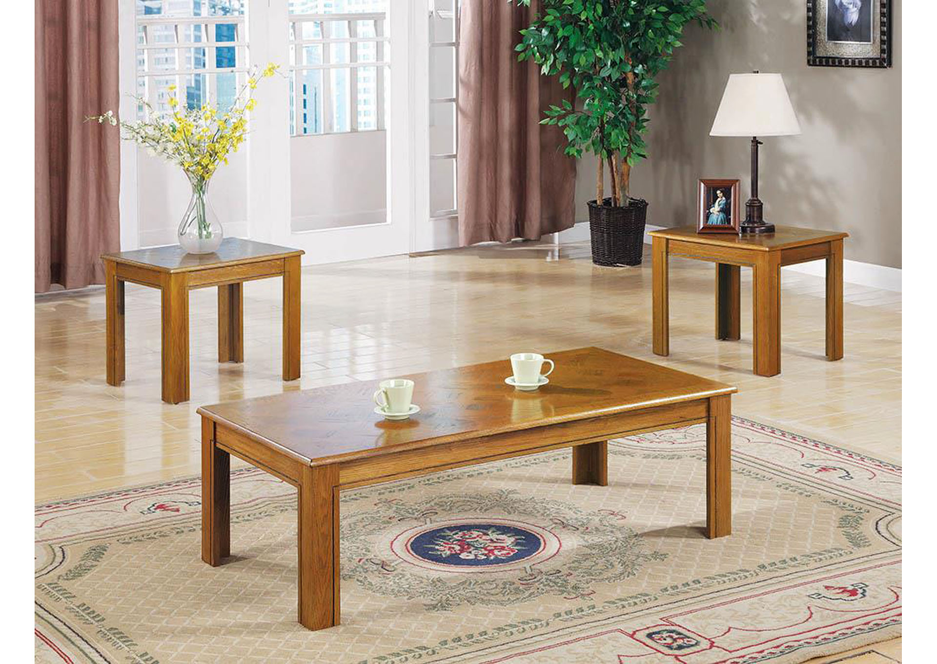 Veneer Parquet 3 Piece Table Set,Coaster Furniture