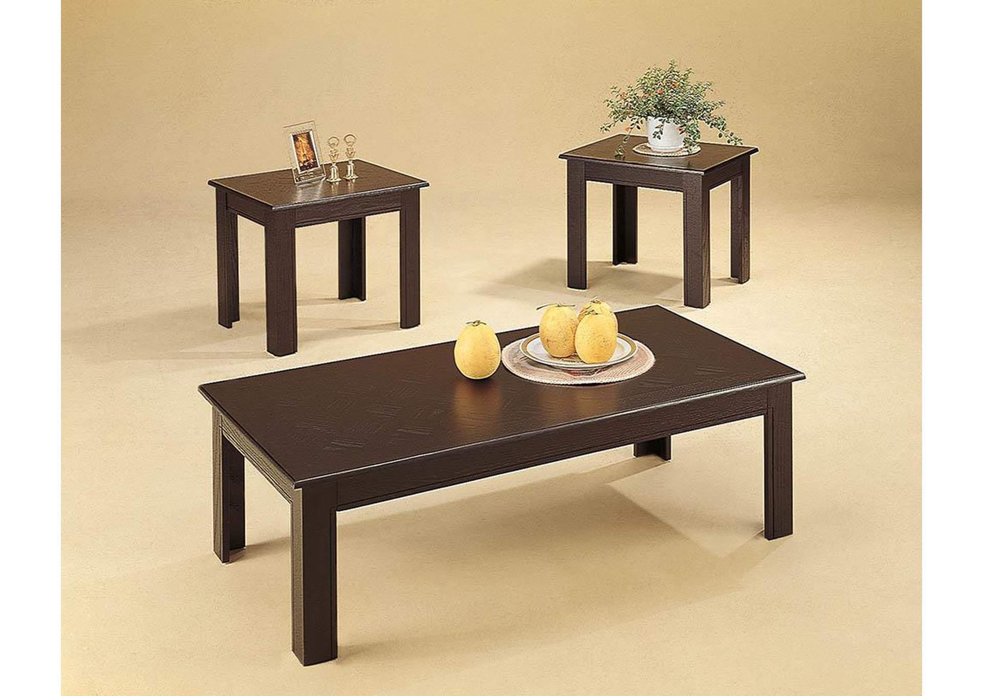 Black Oak Veneer Parquet 3pc Table Set,Coaster Furniture
