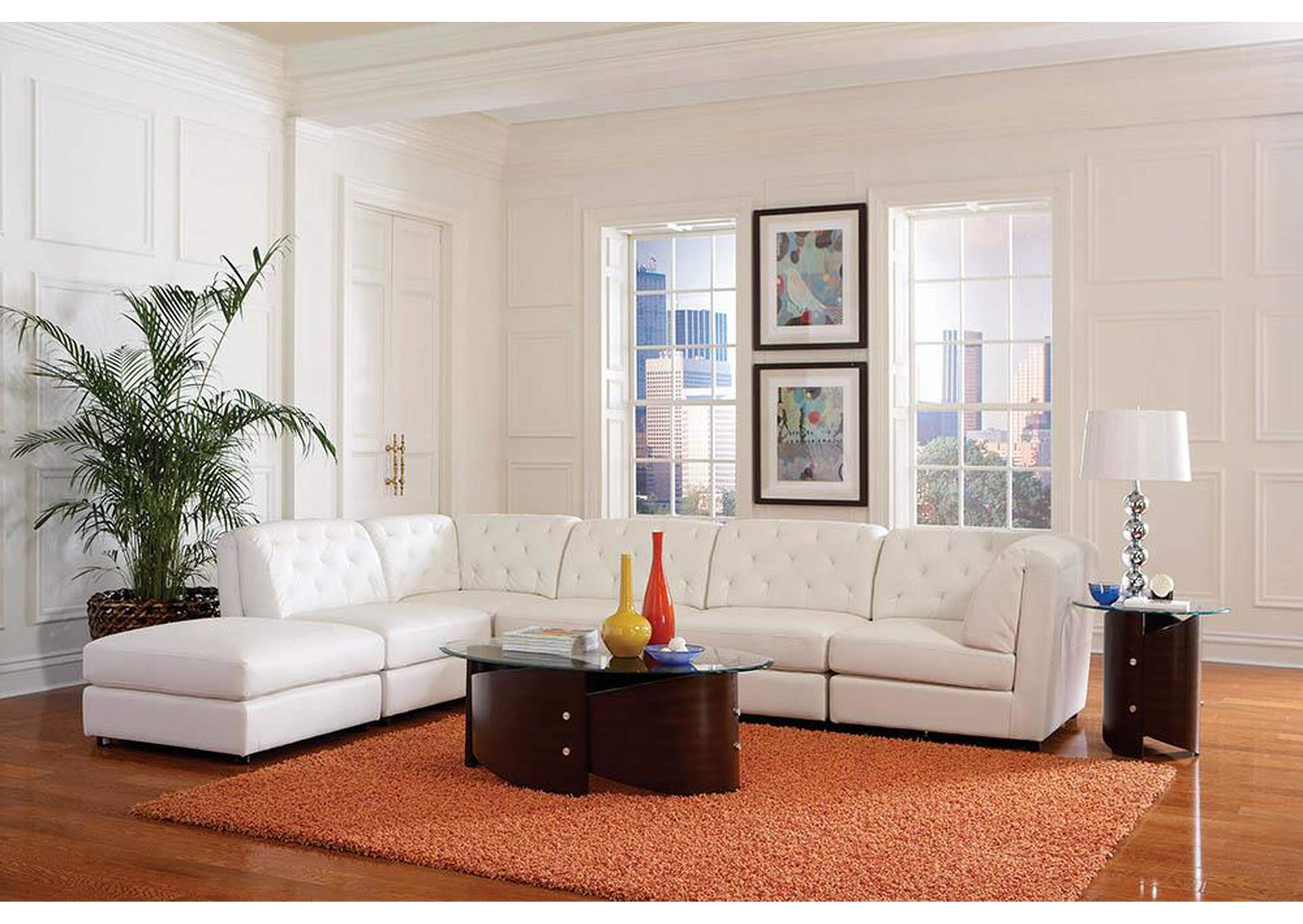 Quinn White Ottoman,Coaster Furniture