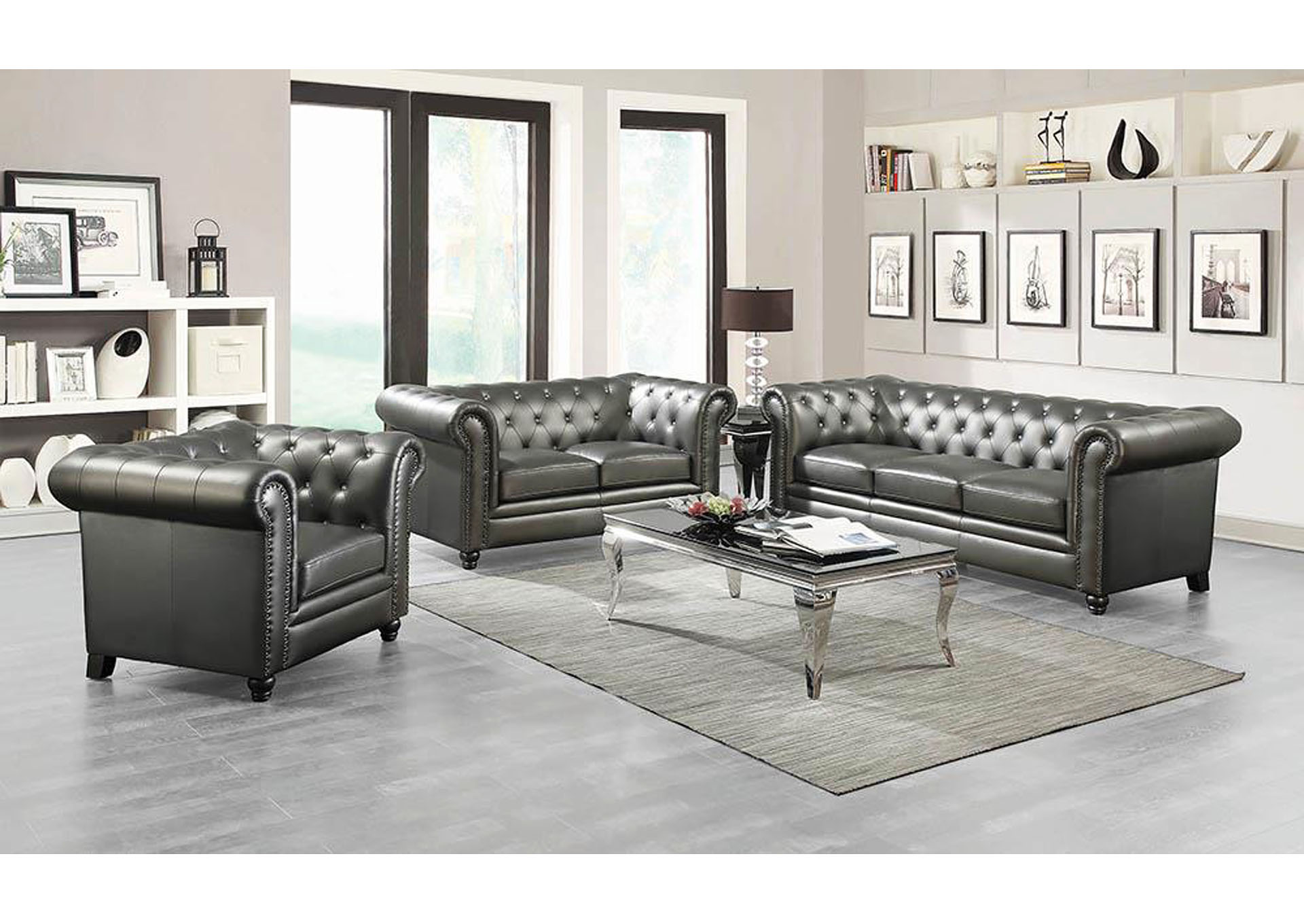 Terrific Furniture Mart Tx Roy Gunmetal Grey Button Tufted Loveseat Short Links Chair Design For Home Short Linksinfo