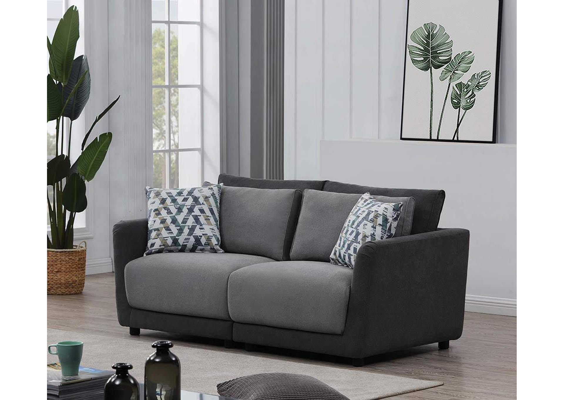 Seanna Two-Tone Grey 2 Piece Sectional Loveseat,Coaster Furniture
