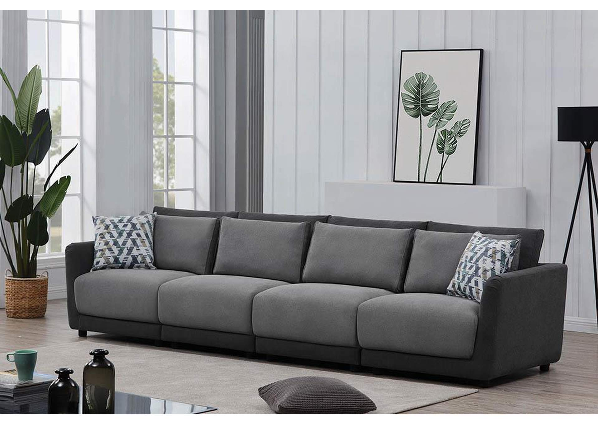 Seanna Two-Tone Grey 4 Piece Sectional Sofa,Coaster Furniture