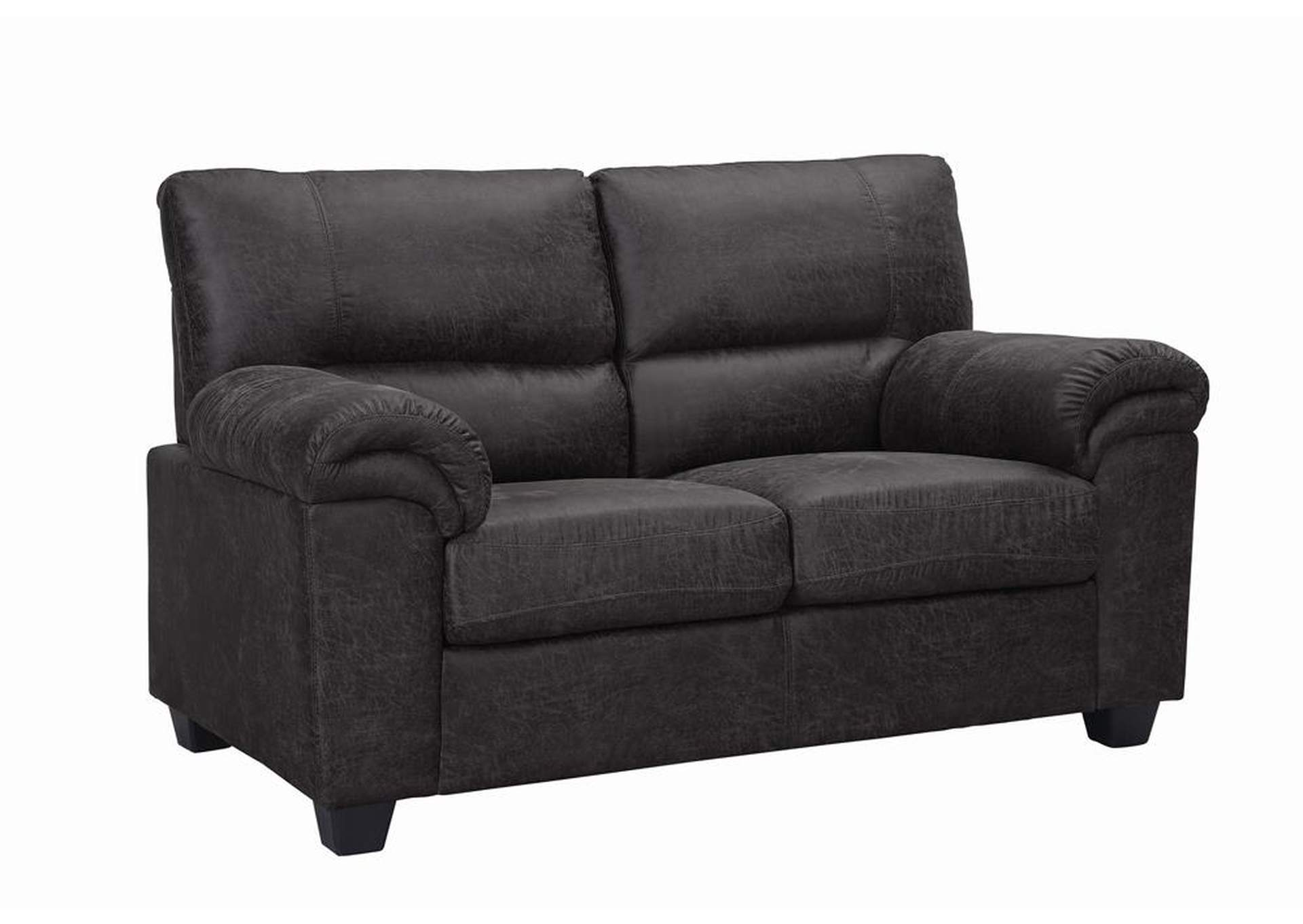 Black Stationary Fabric Loveseat,Coaster Furniture