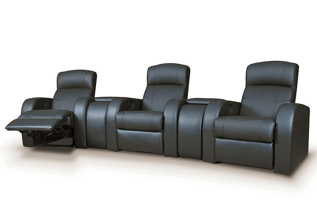 Cyrus 3-Seat Theater Seating (Black),Coaster Furniture