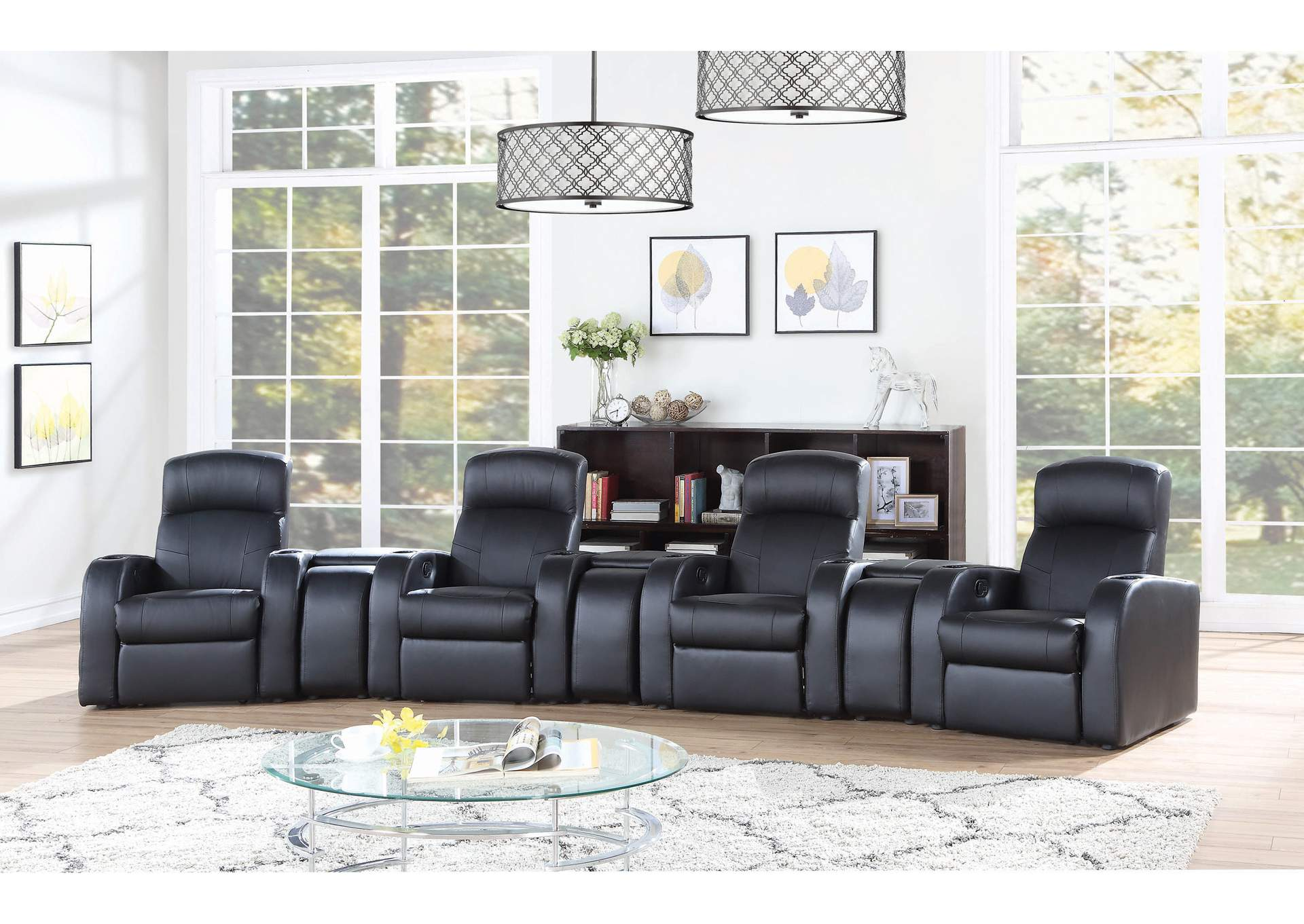 Cyrus Brown 7 Pieces 4-Seater Home Theater,Coaster Furniture