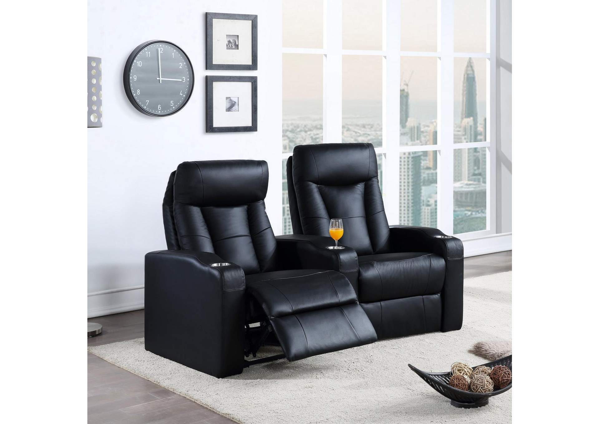 Pavillion Black Two-Seat Home Theater Seating,Coaster Furniture