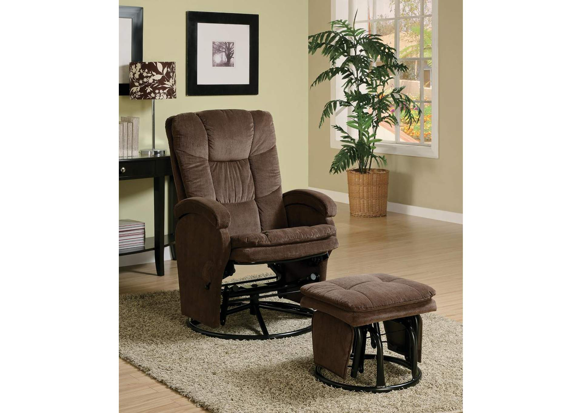 Chocolate Deluxe Glider Rock w/Ottoman,Coaster Furniture
