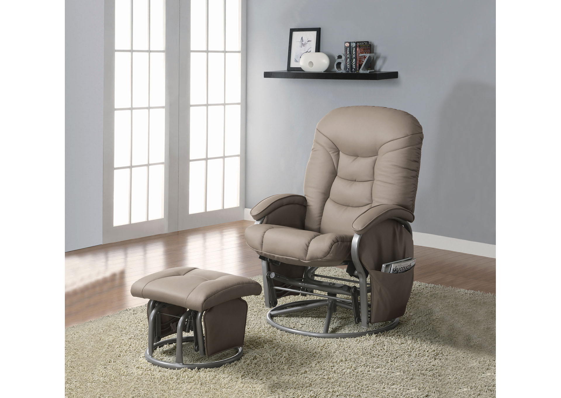 Beige Glider Recliner w/Ottoman,Coaster Furniture
