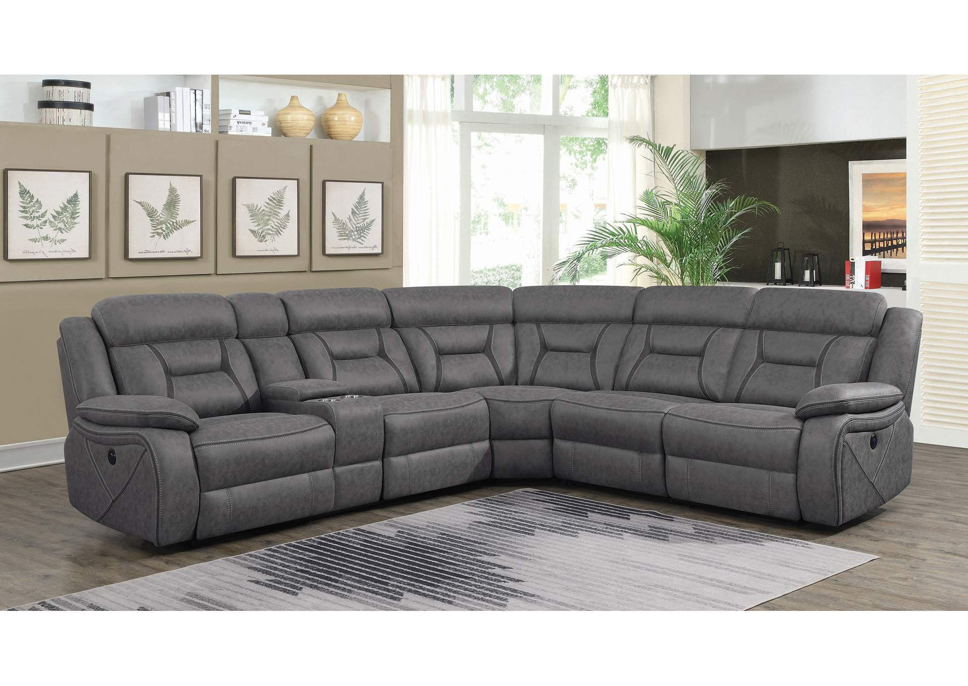 Camargue Grey Reclining Sectional,Coaster Furniture