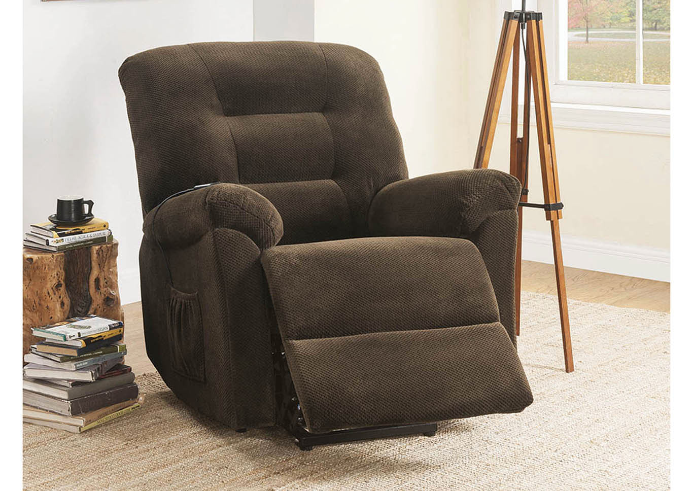 Chocolate Power Lift Recliner,Coaster Furniture