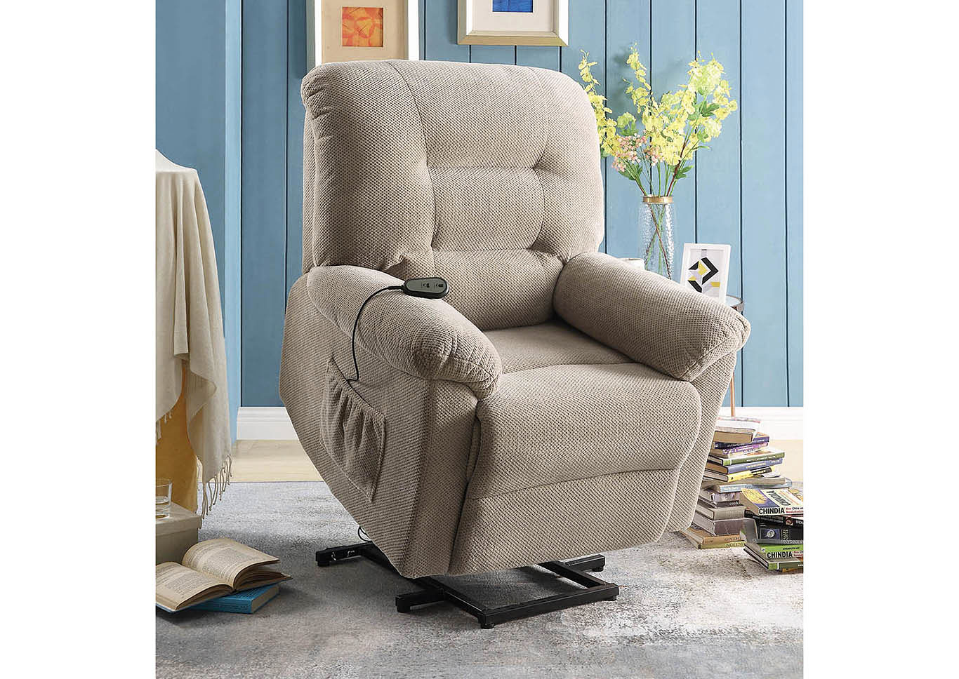 Taupe Power Lift Recliner,Coaster Furniture