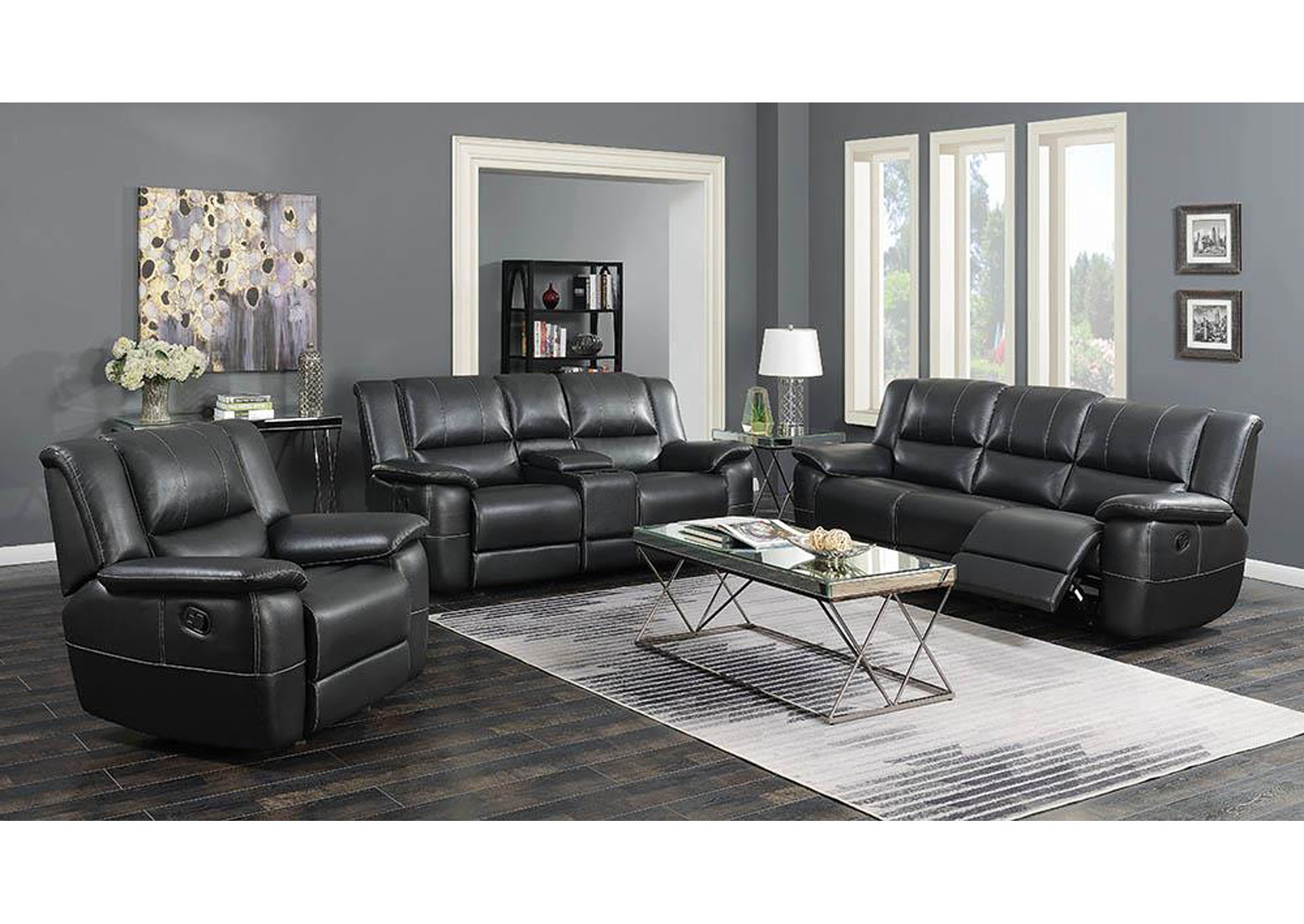 Lee Black Reclining Sofa,Coaster Furniture
