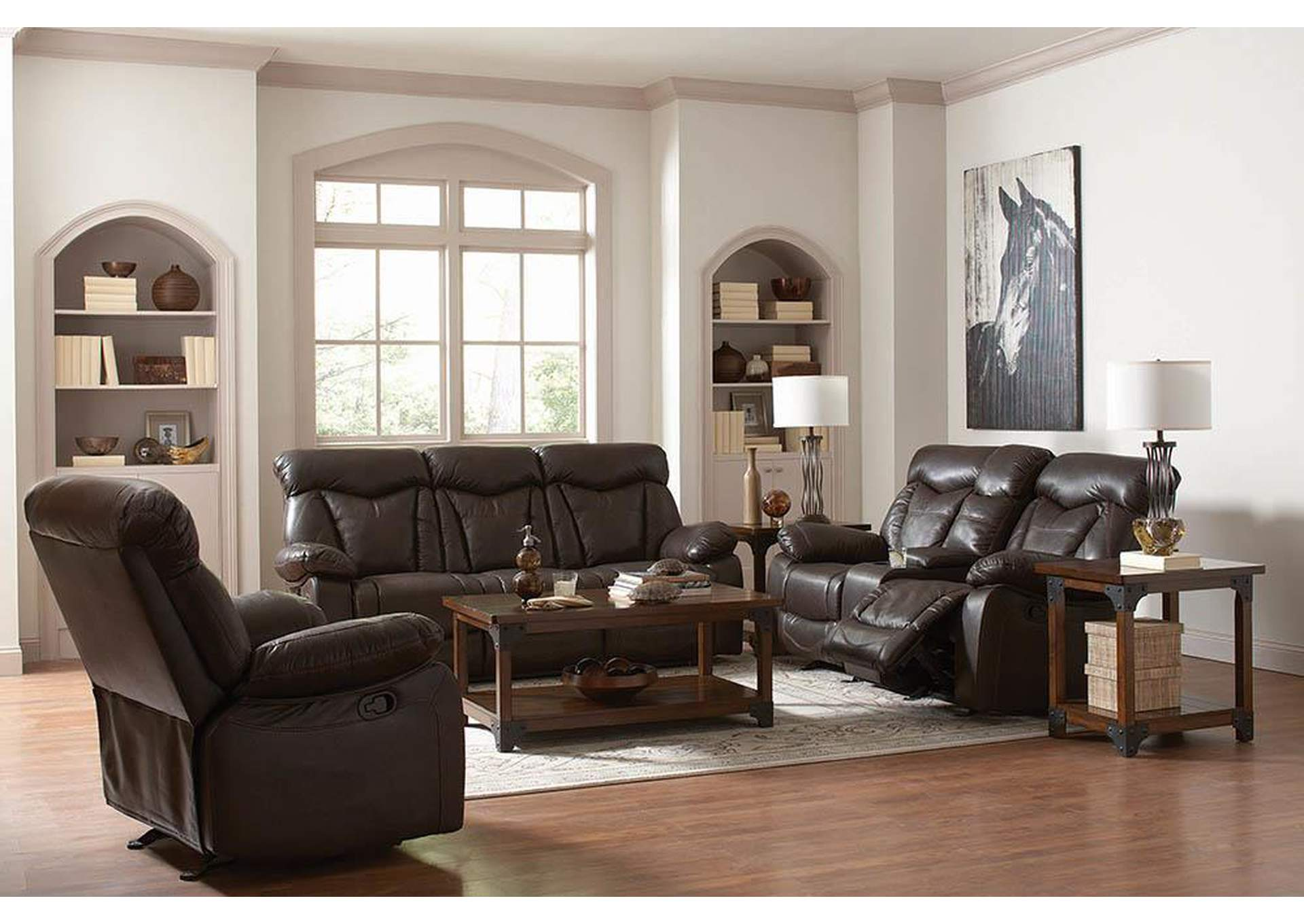 Zimmerman Dark Brown Power Reclining Sofa,Coaster Furniture