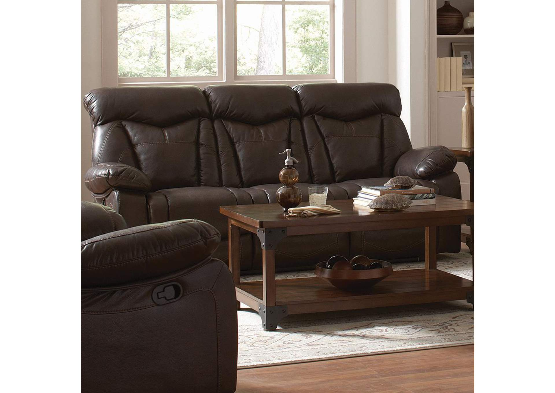 Zimmerman Dark Brown Reclining Sofa,Coaster Furniture