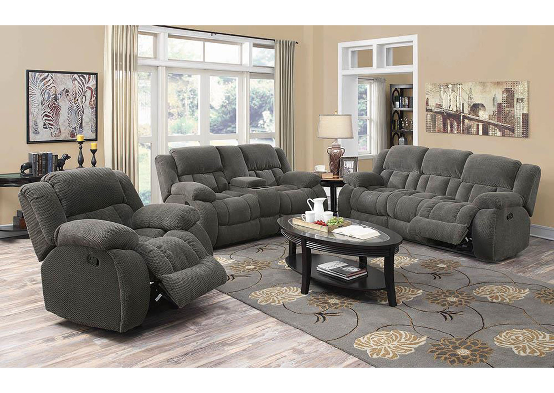 Weissman Grey Reclining Sofa,Coaster Furniture