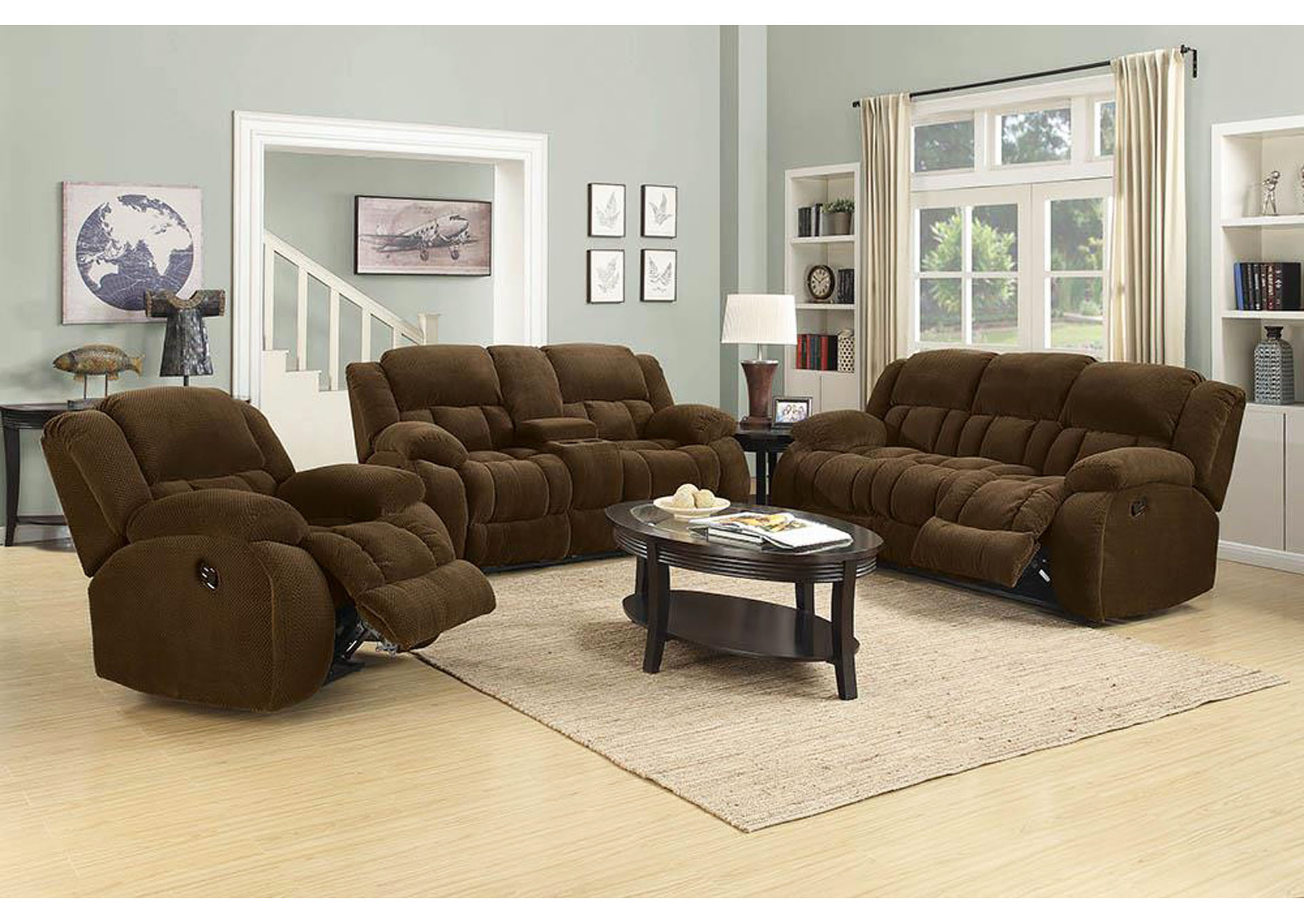 Weissman Brown Reclining Sofa,Coaster Furniture