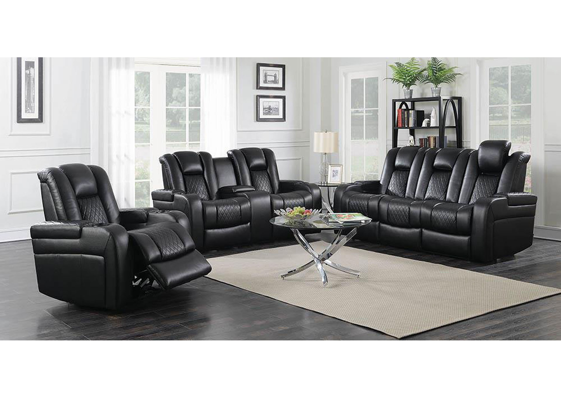 Delangelo Black Power Reclining Sofa,Coaster Furniture